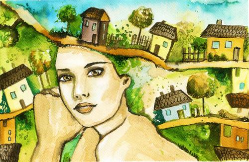 A Peaceful Dream (PRT_1084) - Canvas Art Print - 25in X 17in