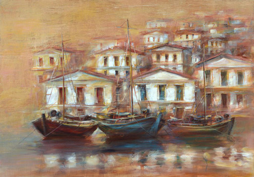 Boats On The Island Harbor 5 (PRT_1094) - Canvas Art Print - 30in X 21in