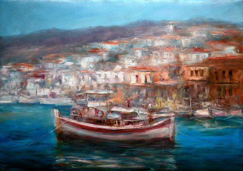 Boats On The Island Harbor 8 (PRT_1097) - Canvas Art Print - 30in X 21in