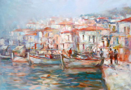 Boats On The Island Harbor 10 (PRT_1099) - Canvas Art Print - 31in X 21in