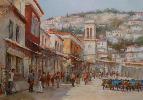 A Town (PRT_1105) - Canvas Art Print - 30in X 21in