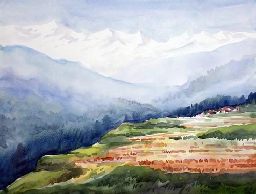 Flowers Valley in Himalaya  (ART_1232_35300) - Handpainted Art Painting - 16in X 12in