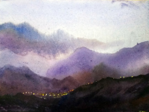 Evening Mountain 1 (ART_1232_35295) - Handpainted Art Painting - 15in X 11in