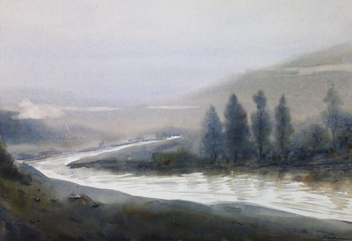 Foggy Himalaya Mountain Landscape (ART_1232_35324) - Handpainted Art Painting - 22in X 11in