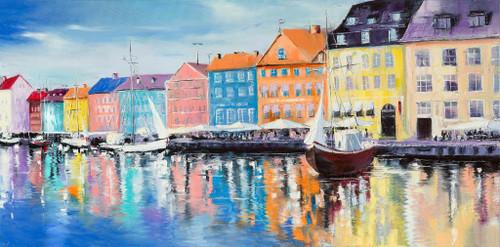 Beautiful Scene Across The Harbor (PRT_1122) - Canvas Art Print - 43in X 21in
