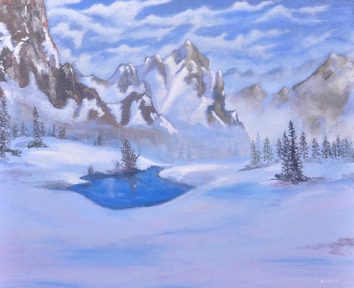 Snow Mountain (ART_6152_35398) - Handpainted Art Painting - 20in X 16in (Framed)