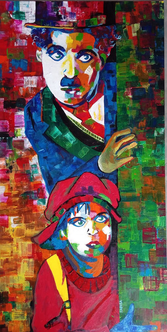 b7d9ba3ffb749 Charlie Chaplin (ART 5110 35540) - Handpainted Art Painting - 23in X 49in