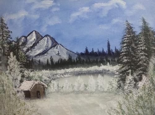Snowy Winter Season (ART_5902_35039) - Handpainted Art Painting - 20in X 24in
