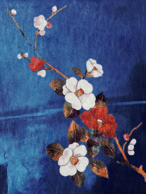 31Fengshui59 - 20in X 30in,31Fengshui59_2030,Oil Colors,Canvas,Museum Quality - 100% Handpainted,Floral,Red and White Flowers,Blue Background,Blue, Violet, Mauve,50X75 Size,Feng Shui;Latest Collection Art Canvas Painting Buy canvas art painting onlin