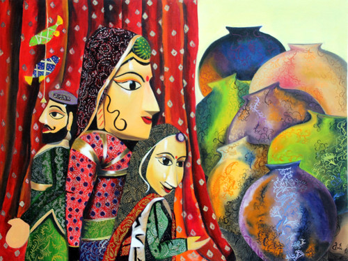 Puppets and Pots (ART_1968_16159) - Handpainted Art Painting - 40in X 30in