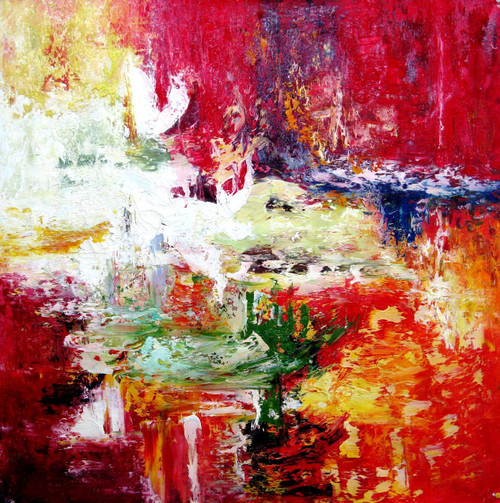 31ABT358 - 28in X 28in (Border Framed),31ABT358_2828,Red, Pink, Orange,60X60 Size,Abstract;Latest Collection Art Canvas Painting