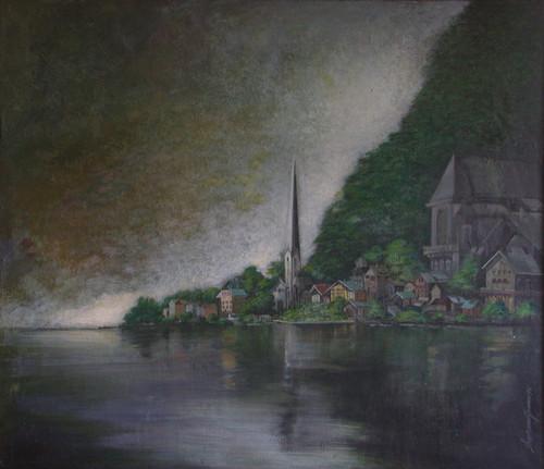 European landscape (ART_6267_36190) - Handpainted Art Painting - 35in X 31in