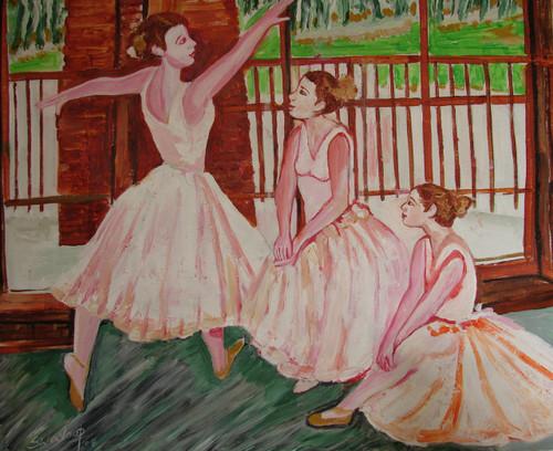 U.S.BALLET DANCE-3 (ART_6175_36097) - Handpainted Art Painting - 30in X 25in