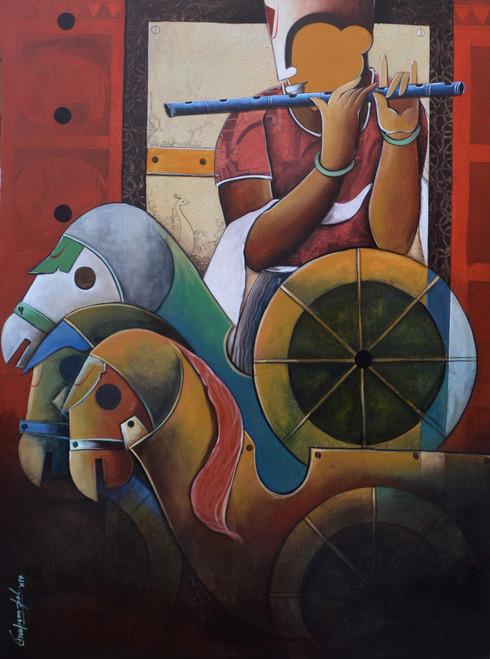 Parthasarthi (ART_6351_36529) - Handpainted Art Painting - 36in X 48in