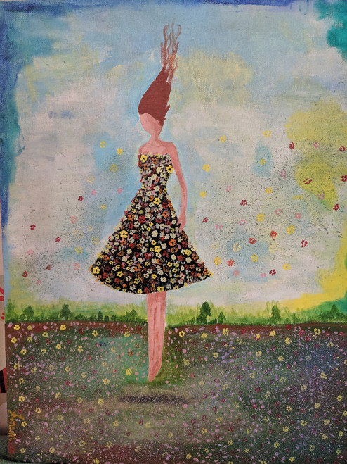 Her Spring-ness (ART_1786_36604) - Handpainted Art Painting - 14in X 18in