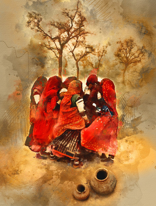 Rajasthani, women, dessert , sand,Rajasthani Women,MTO_1550_17838,Artist : Community Artists Group,Mixed Media