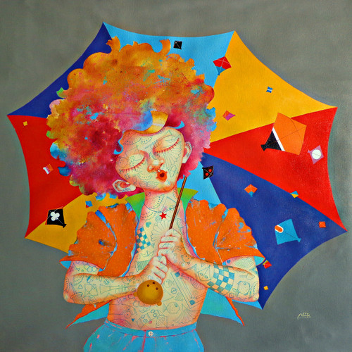 The Childhood xix (ART_805_35349) - Handpainted Art Painting - 36in X 36in