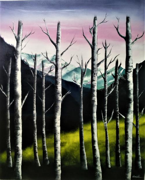 Weeping Trees (ART_5608_36868) - Handpainted Art Painting - 26in X 33in