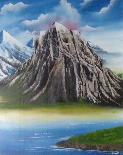 Daunting Rock.  (ART_5608_35866) - Handpainted Art Painting - 25in X 32in
