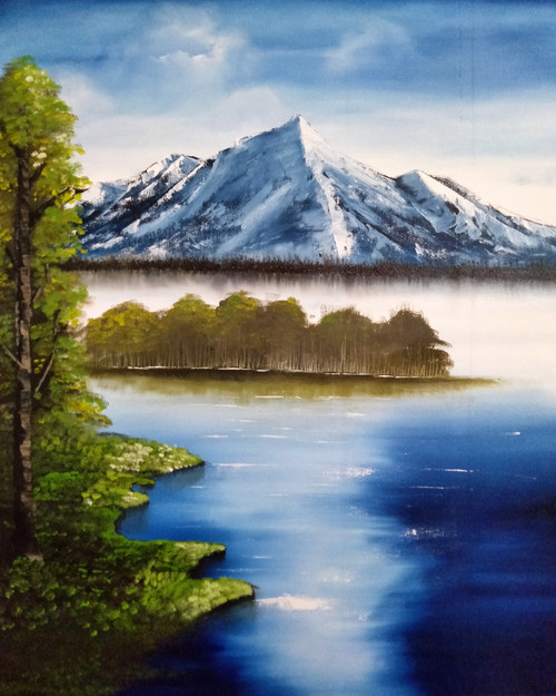 Snowy Mountain.  (ART_5608_33904) - Handpainted Art Painting - 25in X 31in
