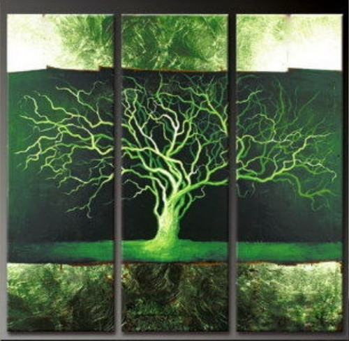 Tree of Life3 - 36in X 36in (12in x 36in each X 3pcs.),RTCS_60_3636,Multipiece,Banyon Tree, Big Green Tree,Oil Colors,Canvas,Museum Quality - 100% Handpainted,Tree,Life of tree,Green tree,Beautiful tree - Buy Online painting in India
