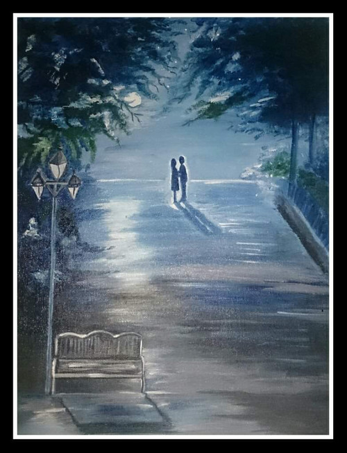 Romantic couple in moon light acrylic painting (ART_6462_37125) - Handpainted Art Painting - 12in X 16in