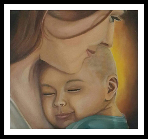Mother daughter oil painting (ART_6462_37124) - Handpainted Art Painting - 11in X 11in