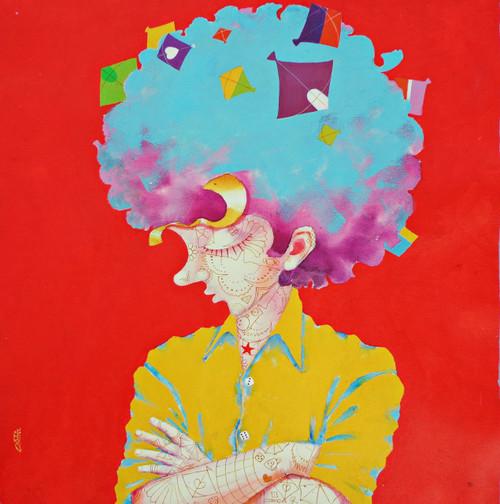 The childhood xvii (ART_805_37178) - Handpainted Art Painting - 24in X 24in