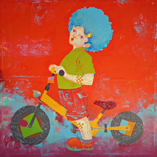 The childhood xxiii (ART_805_37294) - Handpainted Art Painting - 36in X 36in
