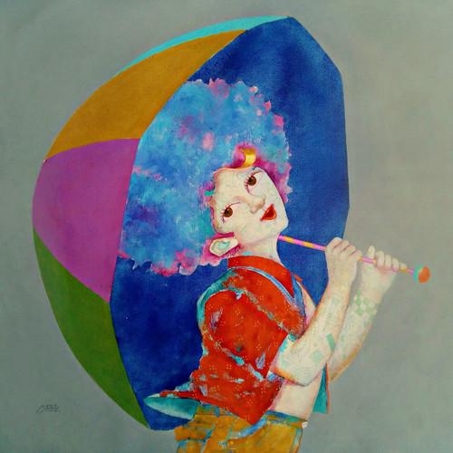 The childhood xvi (ART_805_37176) - Handpainted Art Painting - 24in X 24in