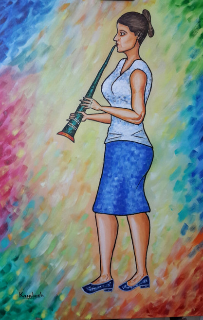 The Green Clarinet (ART_6500_37272) - Handpainted Art Painting - 24in X 36in