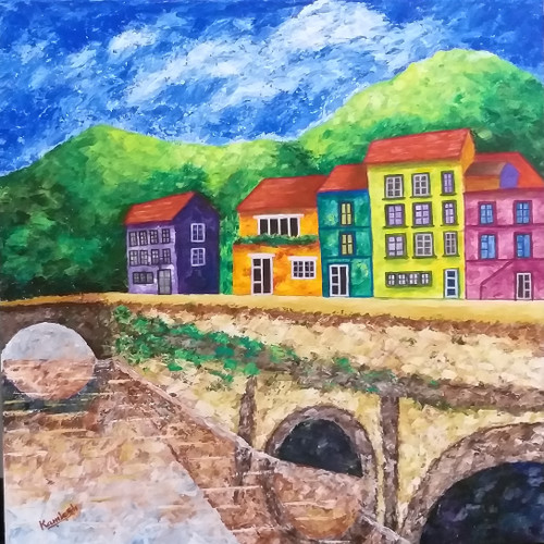 The Orange House (ART_6500_37265) - Handpainted Art Painting - 30in X 30in