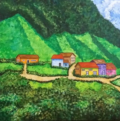 Village In The Valley (ART_6500_37264) - Handpainted Art Painting - 30in X 30in