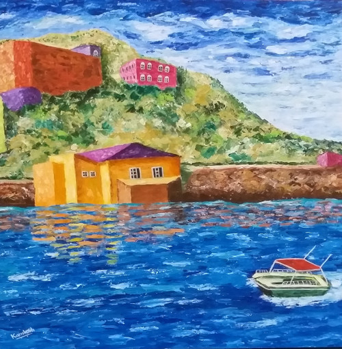 The Boat With Red Roof (ART_6500_37262) - Handpainted Art Painting - 30in X 30in