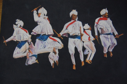 The Folk dancers  (ART_6495_37474) - Handpainted Art Painting - 18in X 12in