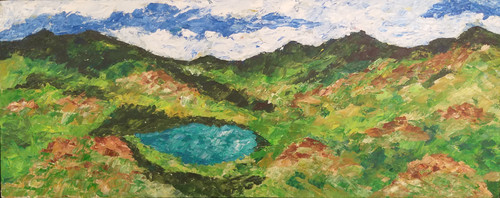 Lake in the Mountain (ART_6500_37679) - Handpainted Art Painting - 30in X 12in