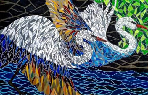 Flying birds  (ART_6566_37724) - Handpainted Art Painting - 57in X 37in