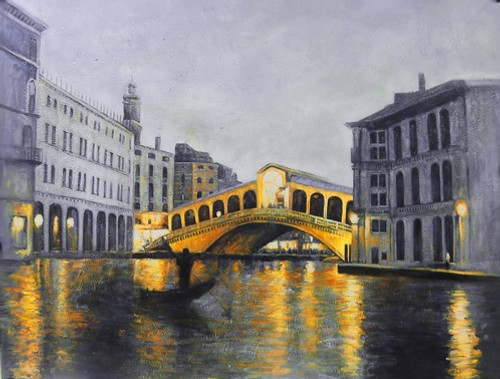 VeniceMagic - 48in X 36in,FIZ031LND_4836,Black, Dark Shades,Rs.4490,Landscape and Seascape,Bredge Scene;Bestsellers;Promotions/Curator Fav. Picks Under 5000;By Orientation and Size/Horizontal/Large (33in to 40in);Full Collection Buy canvas art painti