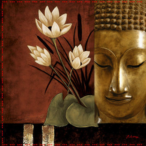 1Religion10 - 32in X 32in,1Religion10_3232,,80X80 Size,Buddha,MEDITATION, Art Canvas Painting,Museum Quality - 100% Handpainted