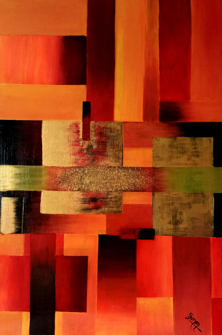 Geometric Abstract painting  (ART_6505_38071) - Handpainted Art Painting - 24in X 36in