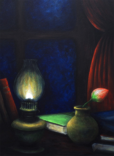 Midnight Love (ART_464_37791) - Handpainted Art Painting - 24in X 32in
