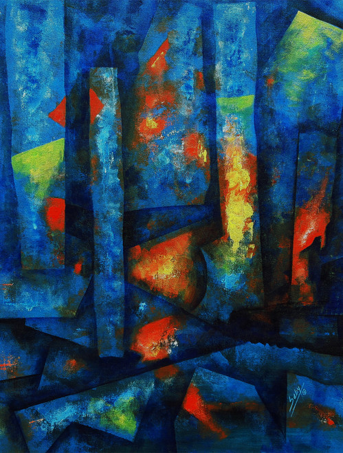 Abstract (ART_464_32701) - Handpainted Art Painting - 22in X 30in