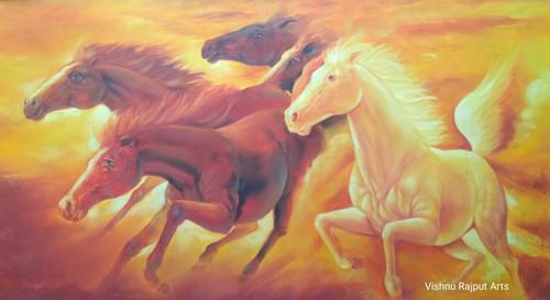 5 Energy Power Horse Vastu Painting  Medium (ART_6662_38419) - Handpainted Art Painting - 28in X 45in