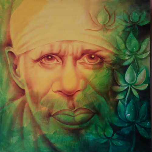 Lord Sai Baba Divine Lite Painting Medium (ART_6662_38415) - Handpainted Art Painting - 30in X 30in