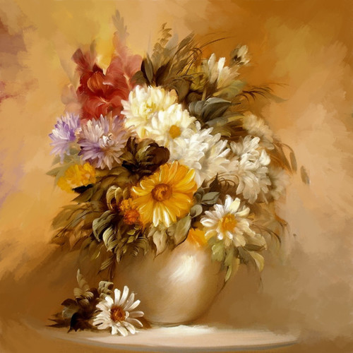 Flower Pot - 24in X 24in,71Still life24_2424,Yellow, Brown,Rs.2190,Florals;Latest Collection;By Orientation and Size/Square/Small (18in to 24in);Full Collection