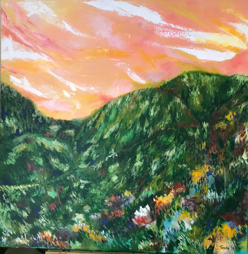 Sunset in the Valley (ART_6676_38490) - Handpainted Art Painting - 30in X 30in