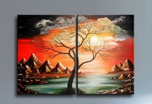 tree,mountains,clouds,river,tree in the mountains,hills,tree sorrounded by hills,tree with clouds,sun,sunset,multipiece tree,multipiece painting