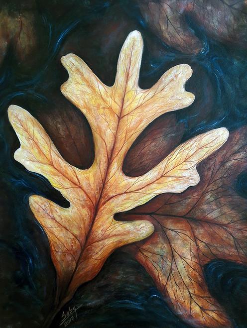 Floating leaves (ART_464_19677) - Handpainted Art Painting - 22in X 28in