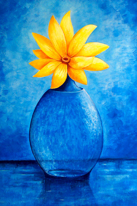 Sunflower (ART_464_6048) - Handpainted Art Painting - 18in X 28in