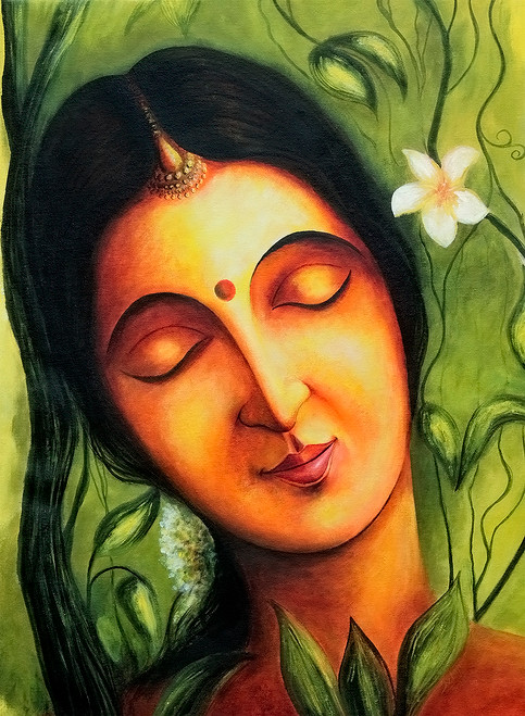 Shakunthala  (ART_464_5512) - Handpainted Art Painting - 18in X 30in
